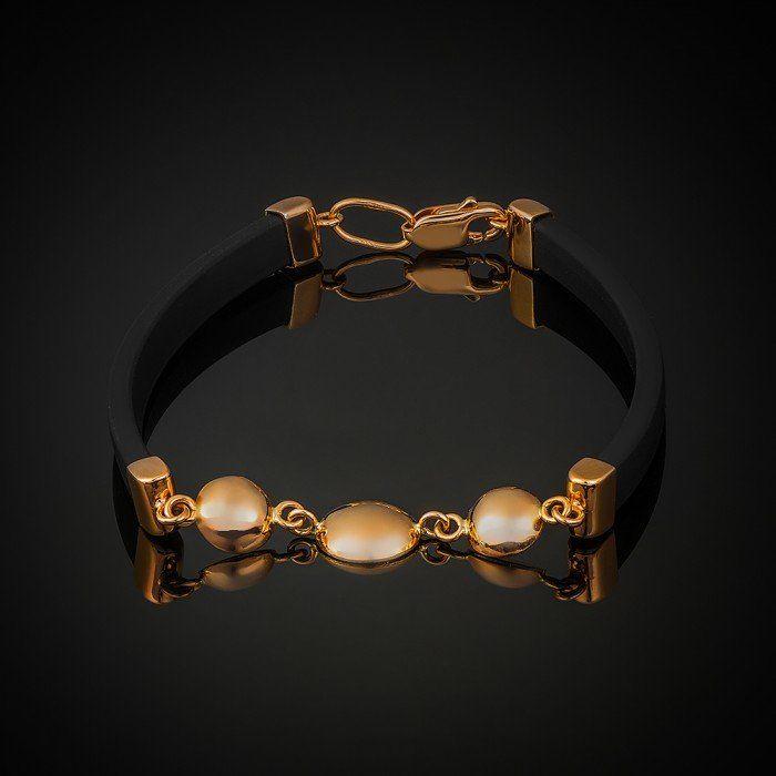 Купити Золотий браслет з каучуком